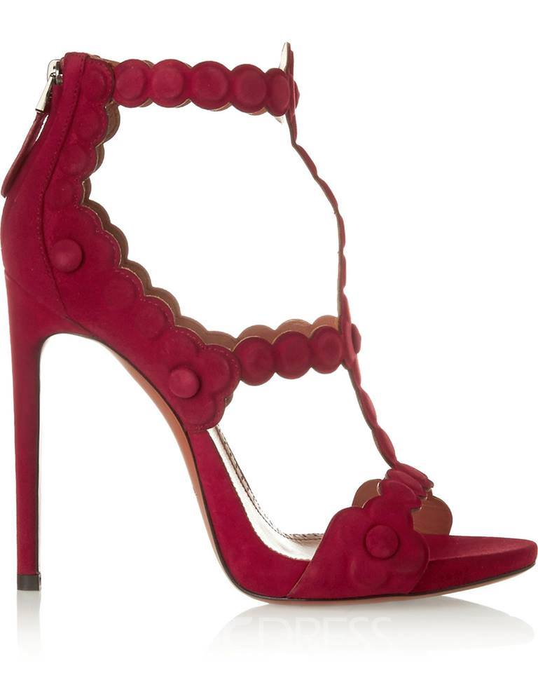 Princess Red Stiletto Sandals with Back Zipper