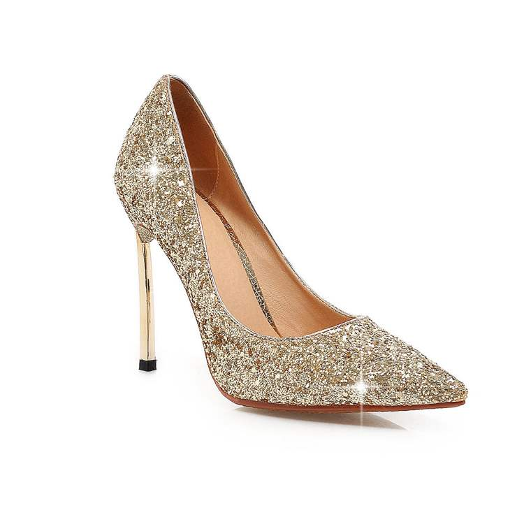 Ericdress Sequins Studded Plain Pointed Toe Pumps