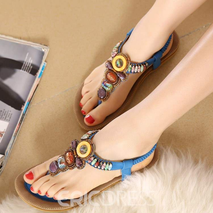 Ericdress Bohemian Beads Clip-toe Flat Sandals