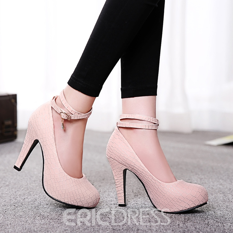 Ericdress Simple Solid Color Ankle Strap Pumps