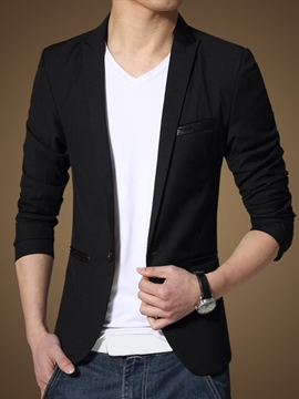 Ericdress Black Large Size One Button Men's Blazer