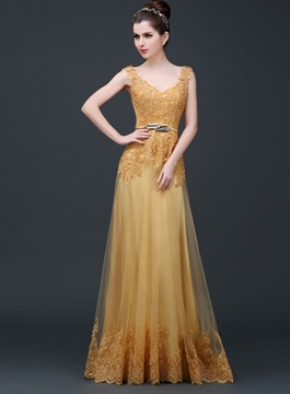 Ericdress Courtlike A-Line V-Neck Appliques Long Evening Dress