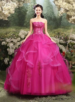 Ericdress Strapless Appliques Ball Gown Quinceanera Dress