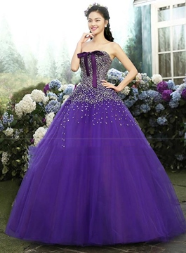 Ericdress Strapless Sequins Lace-Up Quinceanera Dress
