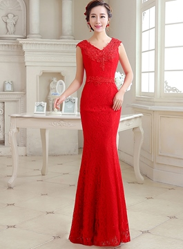 Ericdress Splendid V-Neck Sleeveless Long Lace Evening Dress