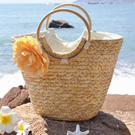 Ericdress Sweet Flower Decorated Grass Knitted Tote Bag