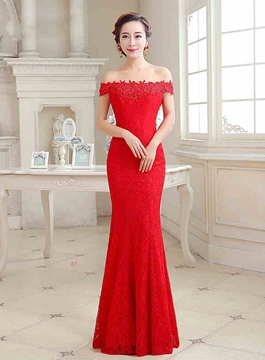 Ericdress Courtlike Off-The-Shoulder Mermaid Long Evening Dress