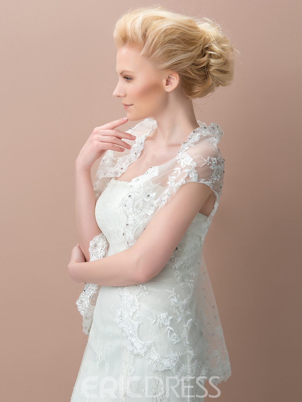 Ericdress Comely Cap Sleeves Lace Wedding Jacket