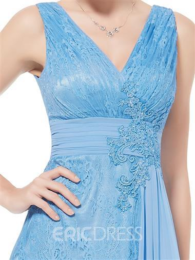 Ericdress Pretty V-Neck Lace Floor-Length Prom Dress