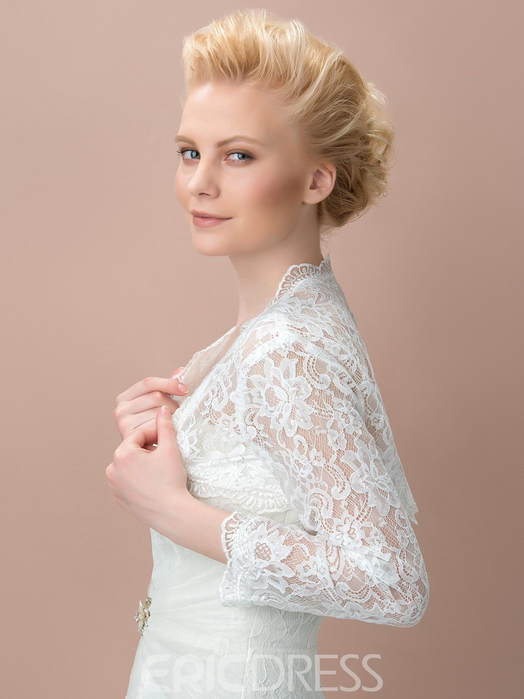 Ericdress Comely Long Sleeves Lace Wedding Jacket
