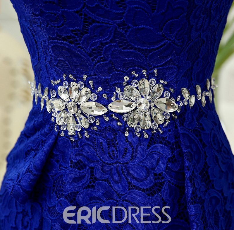 Ericdress Jewel Neck Appliques Beaded Lace Mermaid Evening Dress