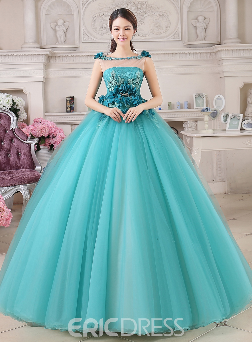Ericdress Jewel Neck Handmade Flowers Appliques Quinceanera Dress ...