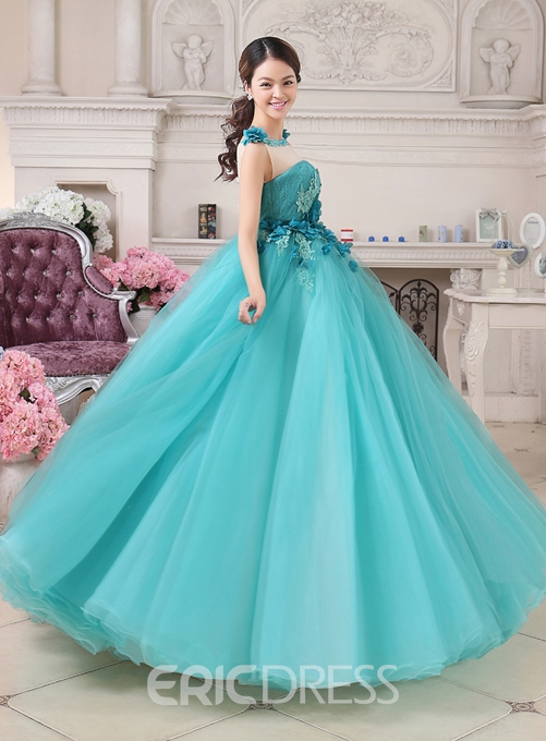 Ericdress Jewel Neck Handmade Flowers Appliques Quinceanera Dress