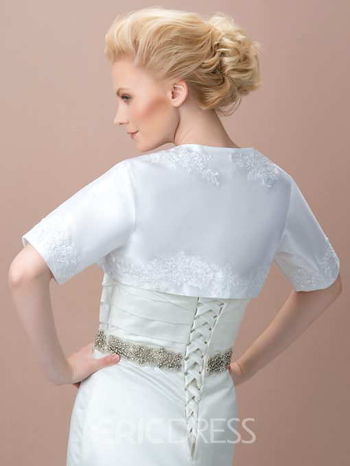 Ericdress Comfortable Satin Appliques Short Sleeves Wedding Jacket