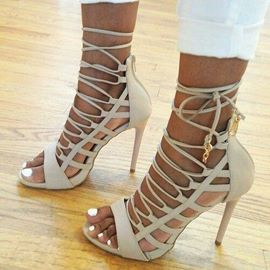 Modern Beige Hollow-outs Stiletto Sandals