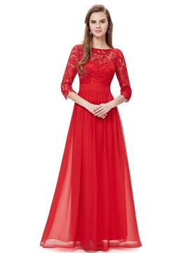 Ericdress Glimmering 3/4 Long Sleeves Lace A-Line Evening Dress