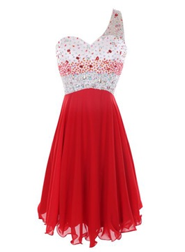 Ericdress Superb One-Shoulder Beaded Short Cocktail Dress