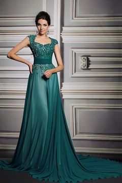 Ericdress Exquisite Cap Sleeves Court Train Lace Appliques A-Line Evening Dress