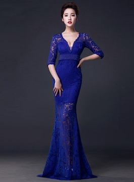 Ericdress Splendid Deep-V Neck Half Sleeves Lace Evening Dress