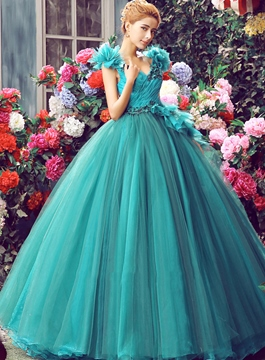 Ericdress col v applications plis robe boule robe de Quinceanera