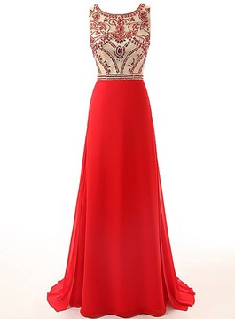 Ericdress Exceptional Scoop Beaded Floor-Length Evening Dress