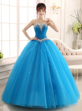 Ericdress Dramatic Beaded Sweetheart Long Ball Gown Quinceanera Dress