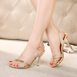 Sequins Peep-toe Stiletto Sandals