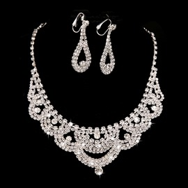 Ericdress Amazing Rhinestone Water Drop Shaped Wedding Jewel Set