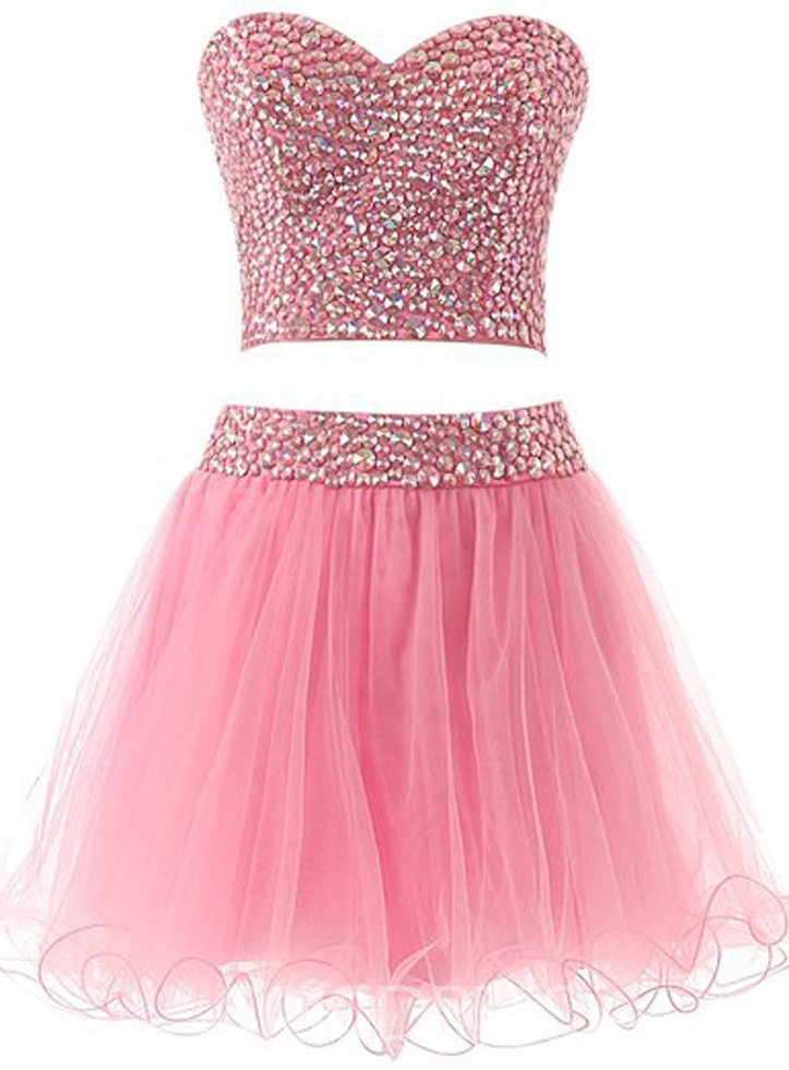 Ericdress Shinning Two-Piece Beaded Short Homecoming Dress