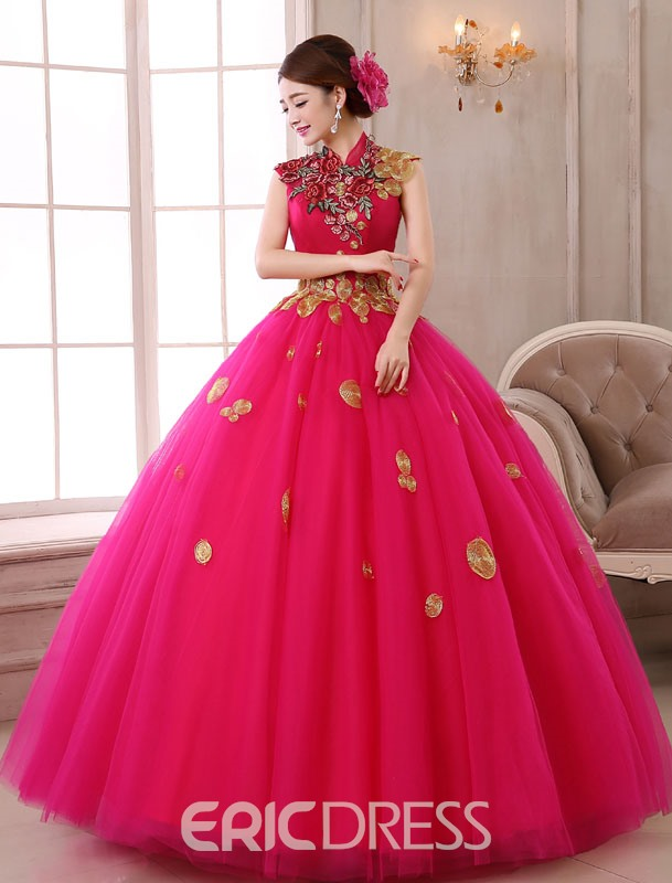 Ericdress High Neck Embroidery Ball Gown Long Quinceanera Dress
