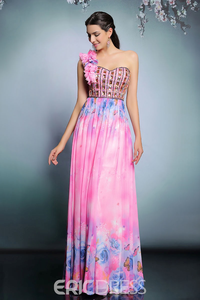 Ericdress Generous One-Shoulder Beaded Printed Long Evening Dress