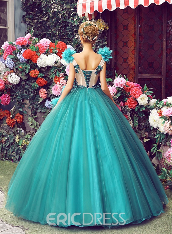 Ericdress V-Neck Appliques Pleats Ball Gown Quinceanera Dress