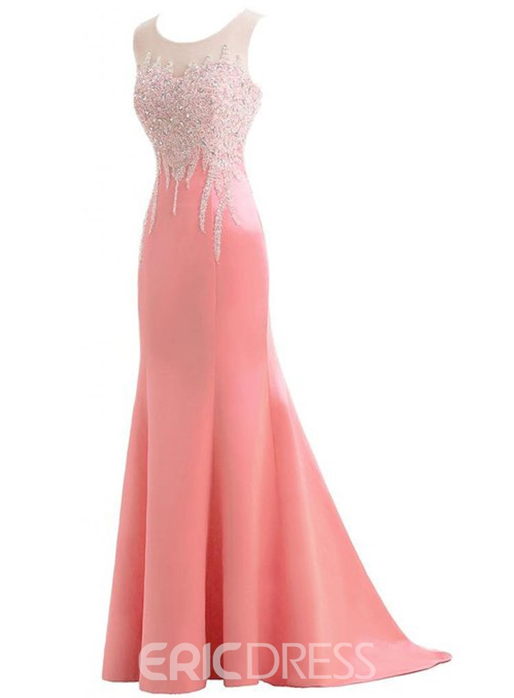 Ericdress Admirable Jewel Neck Beaded Mermaid Long Evening Dress