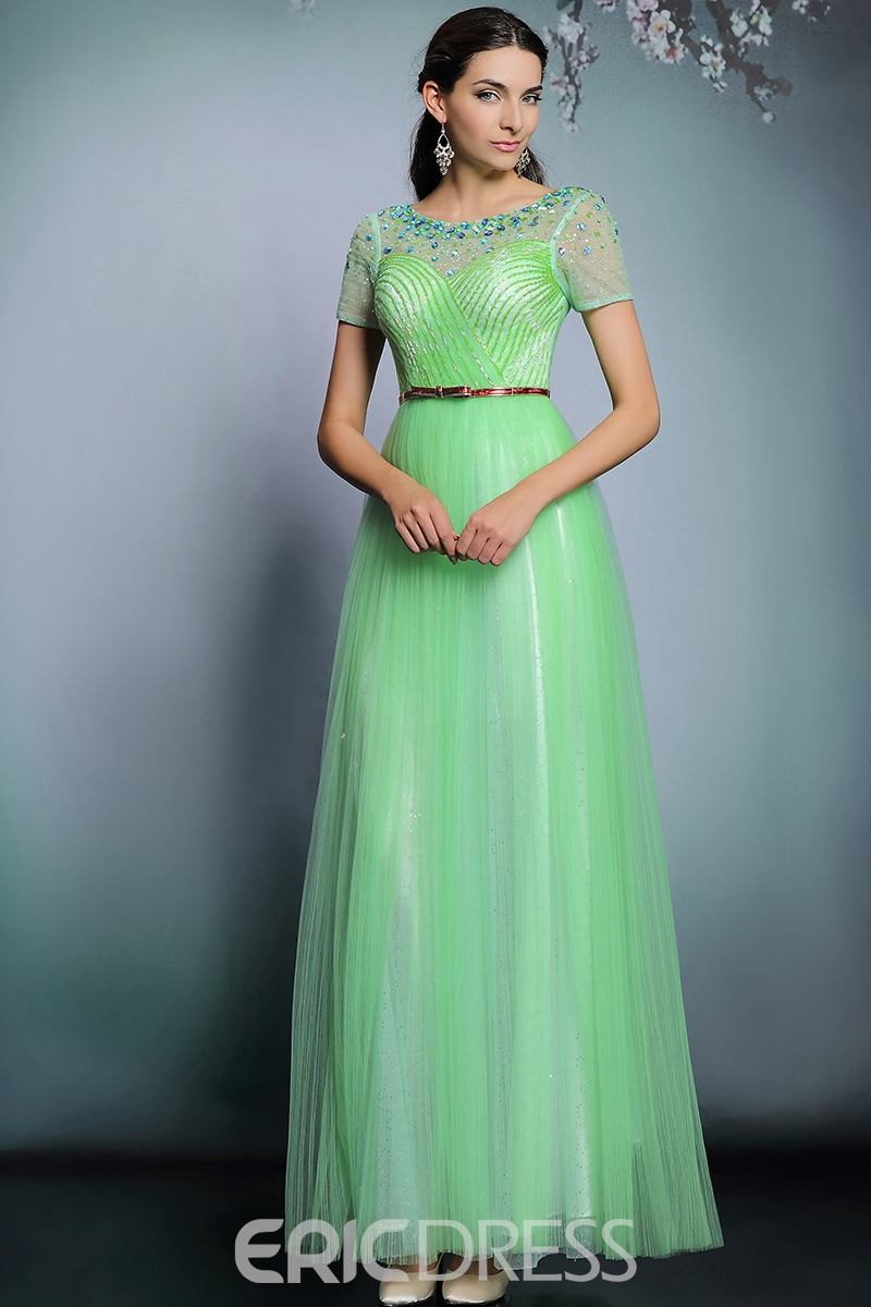 Ericdress Luxurious Jewel Neck Short Sleeves Beading Belt Long Evening Dress