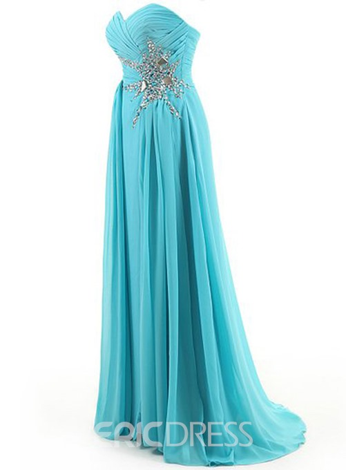 Ericdress Impressive Sweetheart Ruched Beaded Long Prom Dress