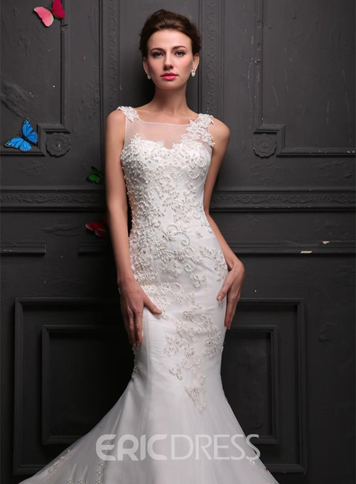 Ericdress Charming Square Beading Mermaid Wedding Dress