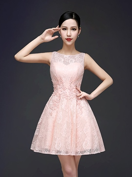 Ericdress Bateau Neck A-Line Lace Appliques Beadings Homecoming Dress