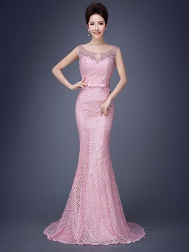 Ericdress Glamorous Scoop Beaded Lace Mermaid Long Evening Dress