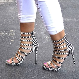 Zebra Print Hollow-outs Stiletto Sandals