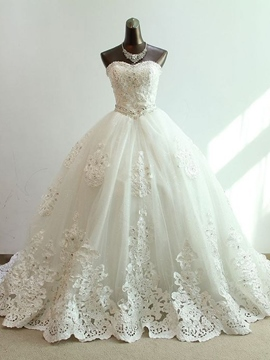Ericdress Sleeveless Ball Gown Appliques Floor-Length Church Wedding Dress