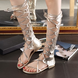 Shining Sequins Decoration Hollow-outs Flat Sandals