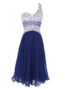 Ericdress A-Line One-Shoulder Beadings Mini Homecoming Dress