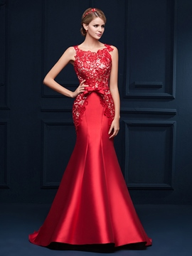 Ericdress Mermaid Appliques Bowknot Evening Dress