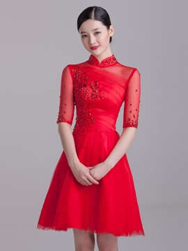 Ericdress A-Line Beading High Neck Half Sleeves Short Homecoming Dress