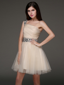 Ericdress un-épaule-ligne Crystal court Homecoming robe