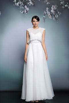 Ericdress Impressive Cap Sleeves A-Line Button Pearl Long Evening Dress