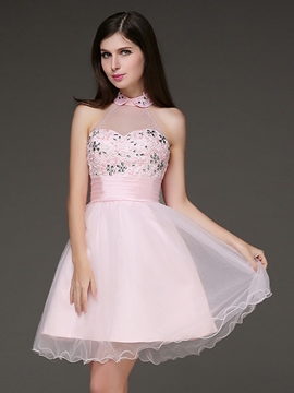 Ericdress a-line encolure haute Beadings Homecoming Mini robe