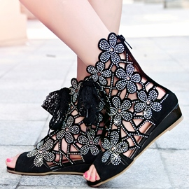 Hollow-out Rhinestone Decorated Lace-up Sandals