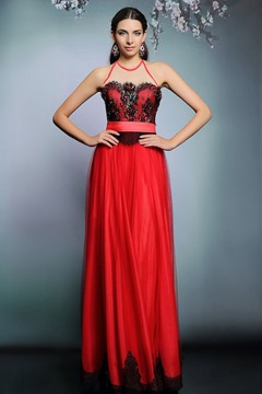 Ericdress Junoesque Halter Lace Beaded Floor-Length Evening Dress