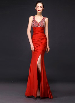 Ericdress Sumptuous V-Neck Side-Split Beaded Floor-Length Evening Dress